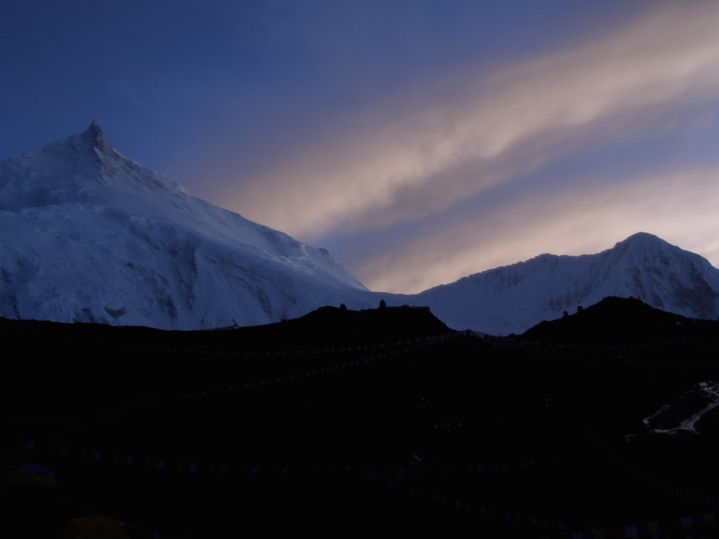 Sunset over Manaslu north col