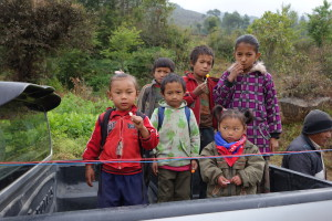 Children on the truck bed